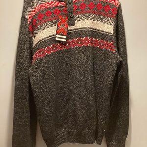 Chaps Thick Knit Nordic Fair Isle mock neck Christmas Sweater Ski size XL